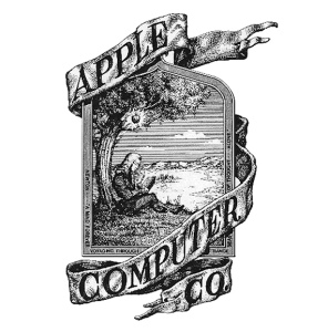 First apple logo, designed by Ronald Wayne in 1976