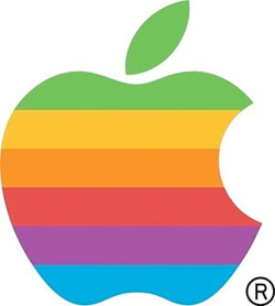 The rainbow apple, the second logo designed by Robert Janoff.